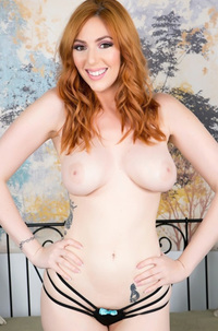 Busty Redhead Lauren Phillips Masturbates With A Huge Glass Dildo