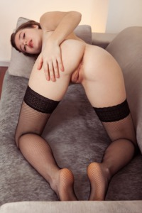 Lu Wears Nothing But Black Fishnet Stockings